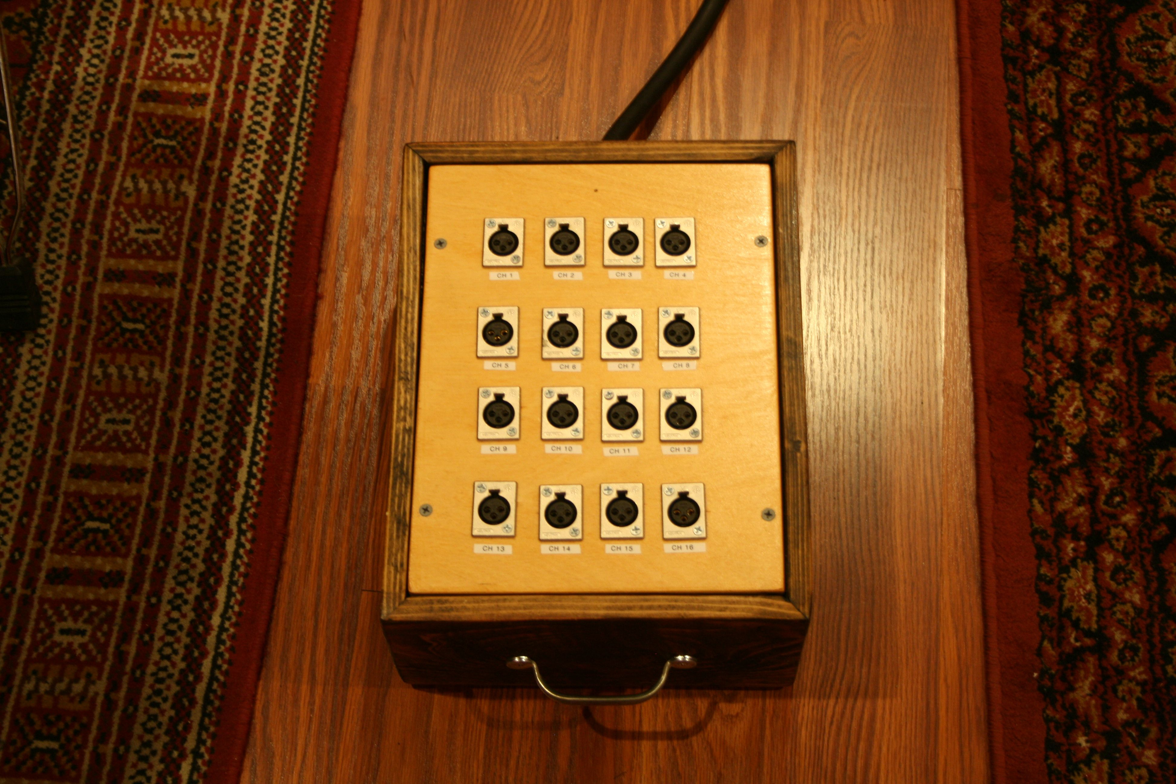16 channel mogami snake with wooden input box sanctus sound